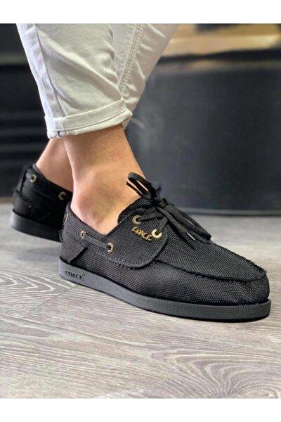 Mevsimlik Keten Ayakkabı 008 Siyah (Siyah Taban)