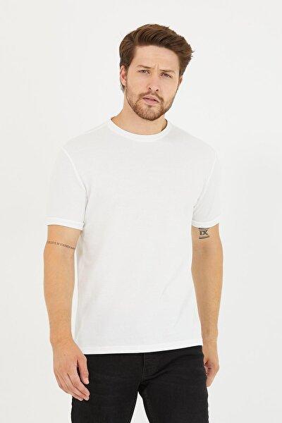 Erkek Bisiklet Yaka Slim Fit Basic Tişört Beyaz
