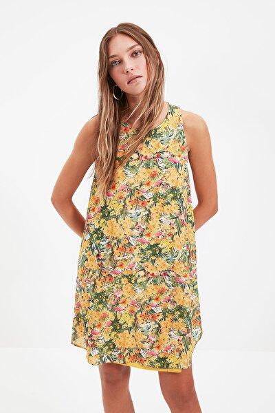 Lila Geniş Kesim Desenli Elbise TWOSS21EL4418