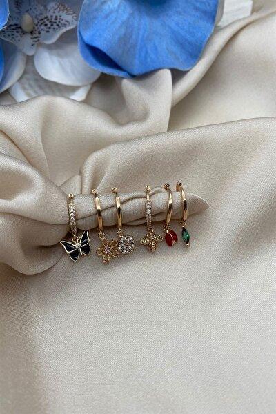 Kadın Altın Renk Kelebek Uğur Böceği Figürlü Set Küpe 6'lı