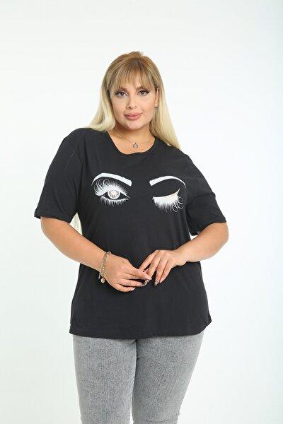 Kadın Büyük Beden Pamuklu Kumaş Göz Baskılı Bisiklet Yaka Kısa Kol T-shirt