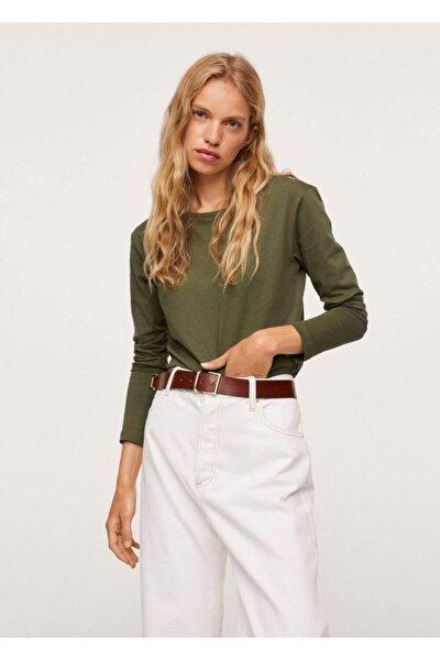 Kadın Haki Renk %100 Pamuklu Tişört