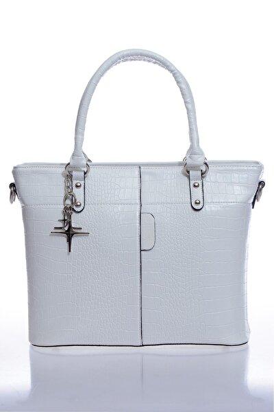 Luxury Mpist9080 Kroko Beyaz Kadın Omuz Çantası