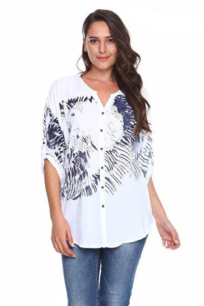 Baskılı Taş Detay Büyük Beden Gömlek Bluz Beyaz