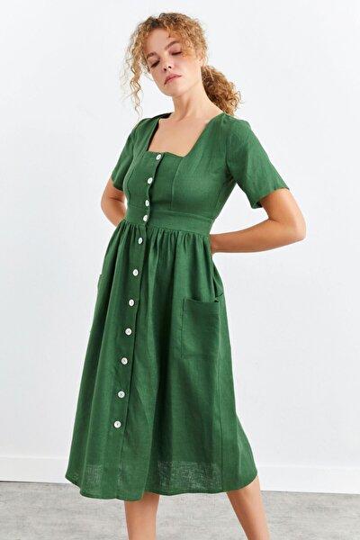 Kare Yaka Önü Düğmeli Keten Elbise
