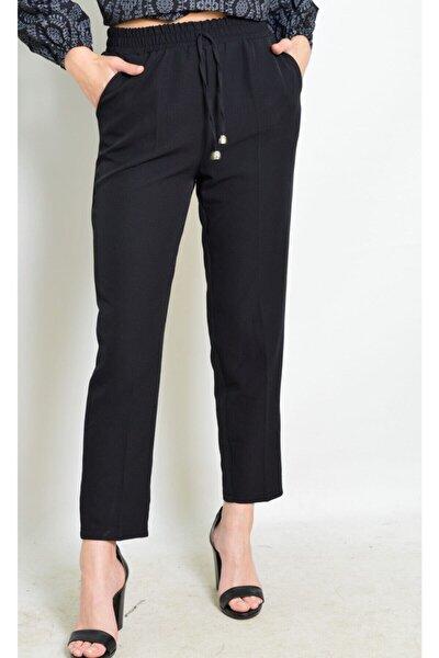 Kadın Siyah Kumaş Bel Lastikli Pantolon