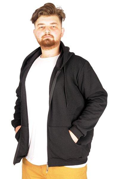 Büyük Beden Erkek Sweatshirt Zippered Recycle B20533 Siyah