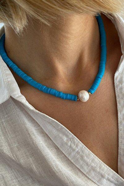 Kadın Mavi Renk Fimo Tasarım Kolye