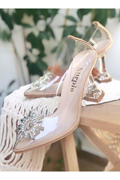 Taş Detaylı Şeffaf Kadın Topuklu Ayakkabı