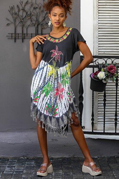 Kadın Siyah Palmiye Desenli Kısa Kollu Batik Oversize Elbise M10160000EL94481