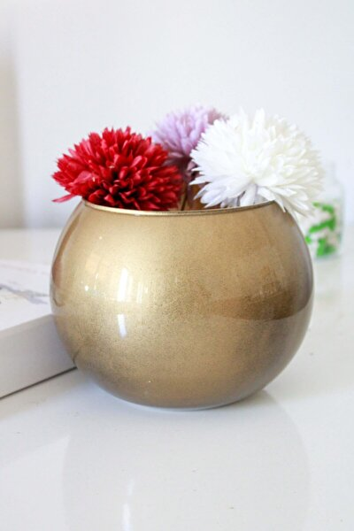 Eskitme Gold Çiçeklik Cam Vazo