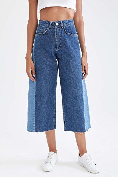 Culotte Fit Renk Bloklu Yüksek Bel Jean Pantolon