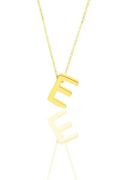 Gümüş Altın Yaldızlı Üç Boyutlu Minimal E Harf Kolye