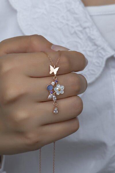 925 Ayar Gümüş Kelebek Bahar Çiçeği Manolya Kolye