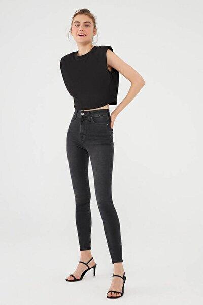100980-34748 Serenay Smoke Gold Shape Kadın Jeans Pantolon