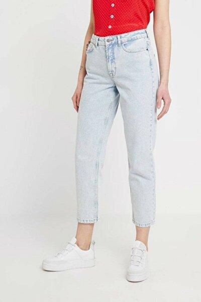 Indigo Yüksek Bel Relaxed Fit Jeans