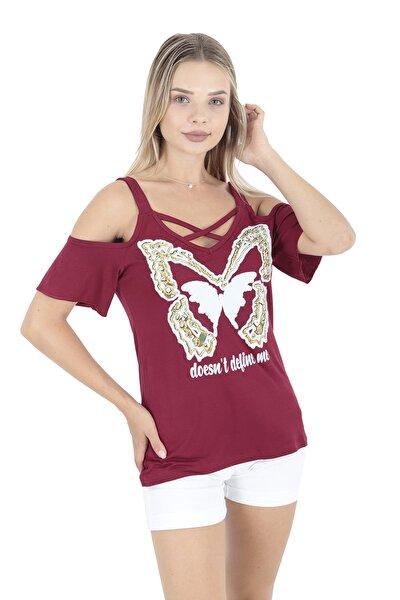 Bordo Omuzları Açık Kelebek Baskılı T-shirt