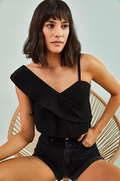 Kadın  Siyah Tek Omuz Desenli Bluz