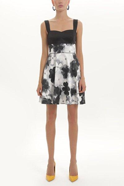 Baskılı Ve Saten Mixli Kolsuz Mini Elbise 91345