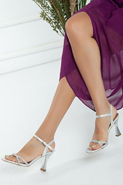 Gümüş Gece Ayakkabısı, Abiye Ayakkabı, Düğün Ayakkabısı, Taş Işlemeli Yazlık Ayakkabı