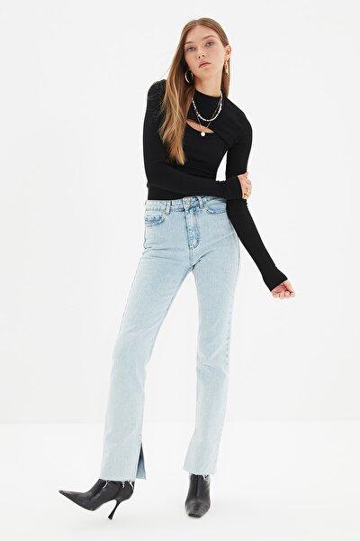 Mavi Yırtmaçlı Yüksek Bel Slim Flare Jeans TWOAW22JE0382