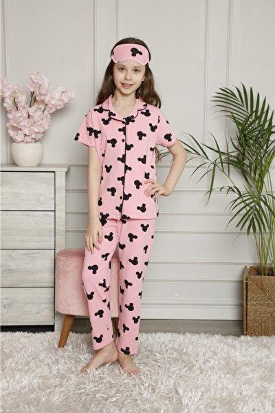 Mickey Desenli Pijama Takımı Kız Çocuk Son Sezon Göz Bandı Dahildir Kısa Kol