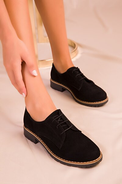 Siyah Süet Kadın Casual Ayakkabı 15440