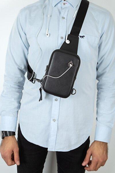 Unisex Siyah Hakiki Deri Telefon Kulaklık Çıkışlı Çapraz Bel Omuz Çanta Göğüs Bodybag