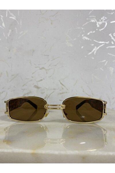 Kadın Leopar Dikdörtgen Gold Çerçeveli Vintage Güneş Gözlüğü
