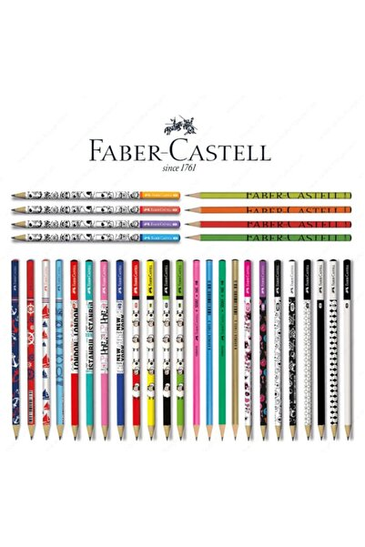 Faber Castel Lüx Mercanlı Karışık Yuvarlak Kurşun Kalem 12 Adet