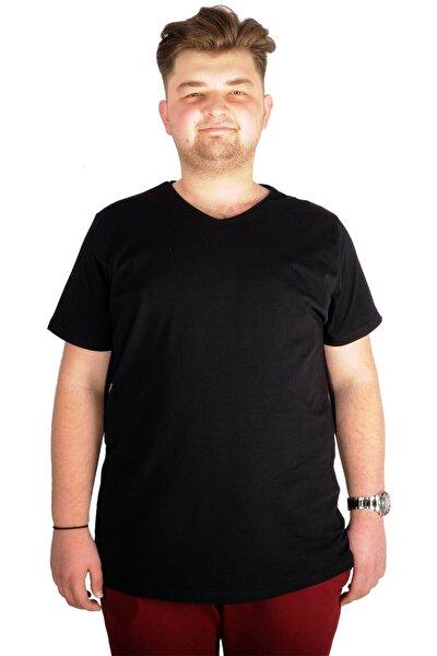 Büyük Beden T-shirt V Yaka Likralı 20150 Siyah