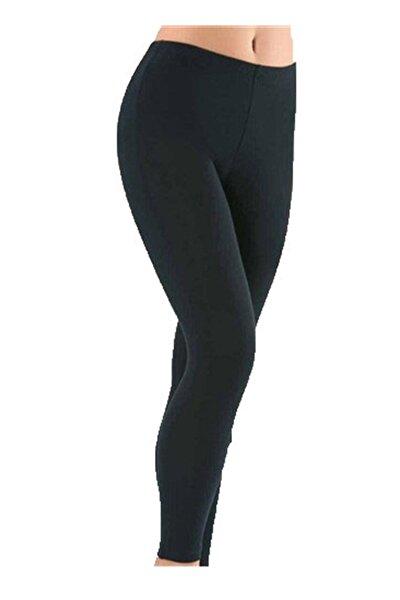 Kadın Düz Desensiz Uzun Bayan Yüksek Bel Penye Tayt Pantolon