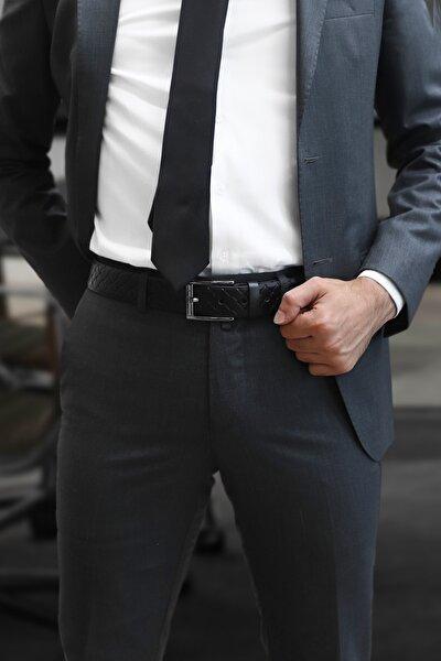 Erkek Siyah Klasik Kumaş Pantolon Kemeri