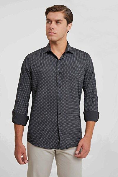 Slim Fit Siyah Gömlek