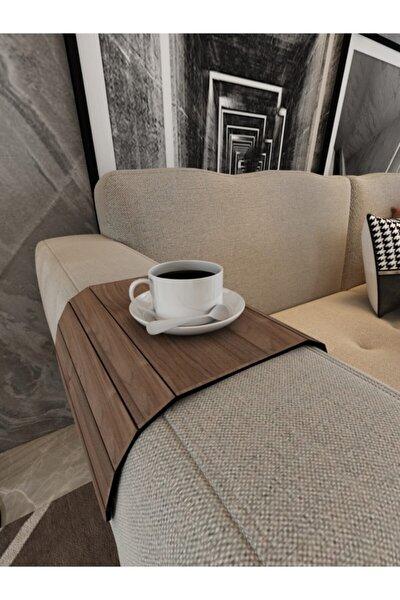 Koyu Kahve Koltuk Tepsisi Yan Sehpa Tesbih Cevizi 25x45 Cm Ortasabit 15,8 Cm Amerikan Servisi