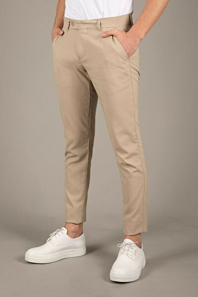 Erkek Bej İtalyan Kesim Slim Fit Kumaş Pantolon