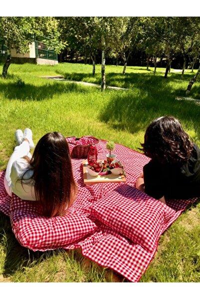 Kırmızı Ekose Pötikare Piknik Örtüsü 170*170 2 Adet Piknik Minderi 50*50cm Piknik Seti