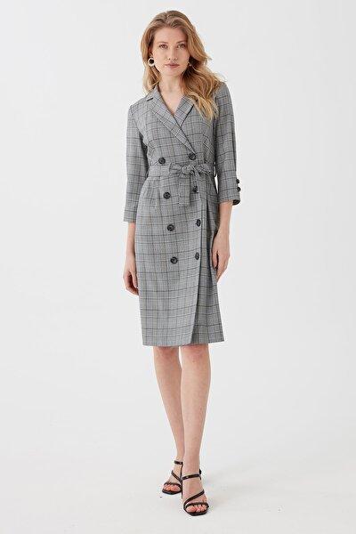 Kadın Gri Önü Düğmeli Kruvaze Ekose Elbise