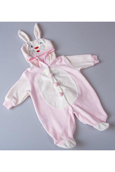 Yeni Sezon Kız Bebek Zıpır Tavşan Ponpon Detaylı Çıtçıtlı Kadife Tulum-k2025