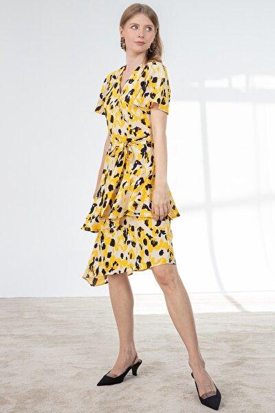 Elbise-kruvaze Düğme Detaylı, Volan Kol Asimetrik Katlı