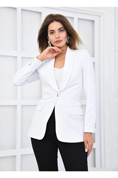 Kadın Beyaz Tek Düğmeli Blazer Ceket