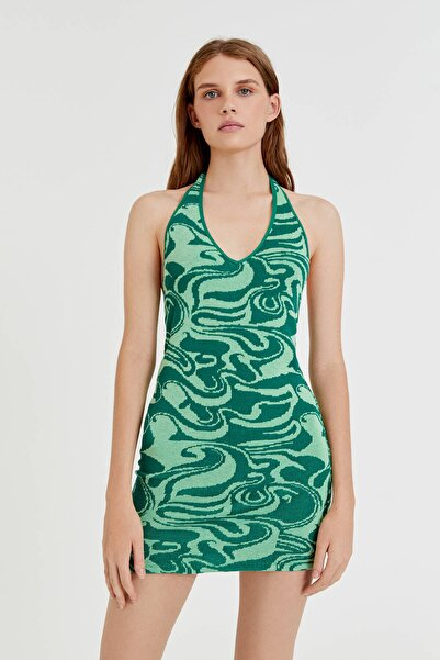 Dalga Desenli Yeşil Mini Elbise