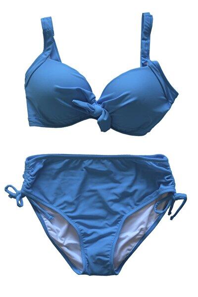 Kadın Büyük Beden Balenli Mavi Bikini Takımı