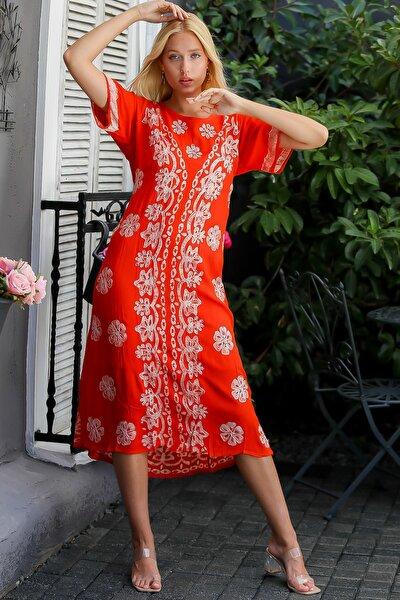 Kadın Kırmızı Hint İşi Çiçek Desenli Kısa Kollu Uzun Dokuma Elbise M10160000EL94415