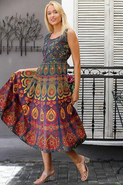 Kadın Petrol Mavisi Hint İşi Kolsuz Desenli Sırtı Kuşaklı Kloş Etek Dokuma Elbise M10160000EL94398