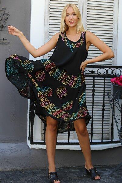 Kadın Siyah Hint İşi Kolsuz Motif Desenli Oversize Dokuma Elbise M10160000EL94416