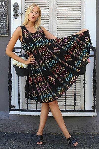 Kadın Siyah Hint İşi Kolsuz Geometrik Desenli Oversize Dokuma Elbise M10160000EL94418