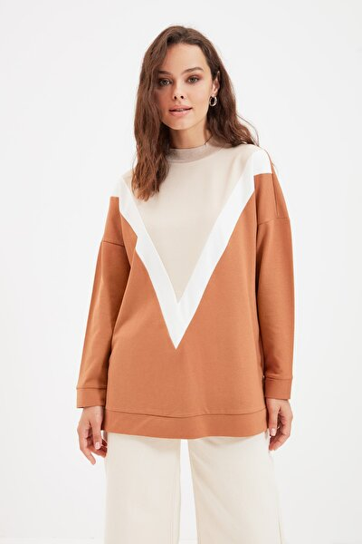 Bej Panelli Örme Sweatshirt TCTAW22TW0084