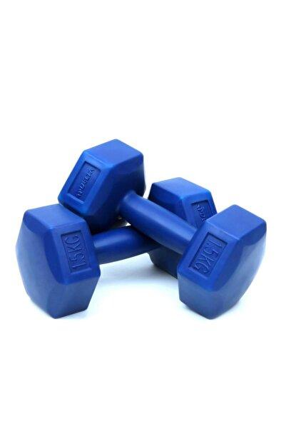 1,5 Kg x 2 Adet Köşeli Mavi Plastik Dambıl Ağırlık Seti