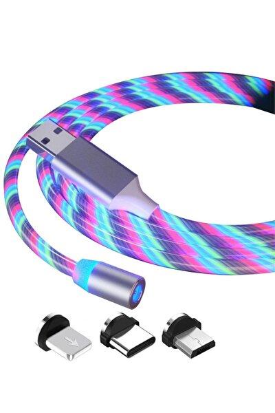 Manyetik Mıknatıslı Hareketli Işıklı 3 Uçlu Karışık Renkli Kablo